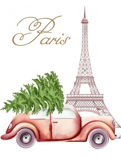 Красный автомобиль с елкой на вершине мимо эйфелевой башни Premium векторы