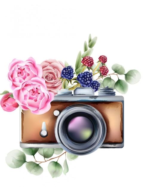 バラの花と果実の装飾品でレトロなスタイルのカメラ Premiumベクター