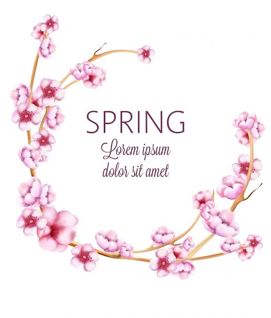 Розовый весенний венок с акварельными цветами Premium векторы