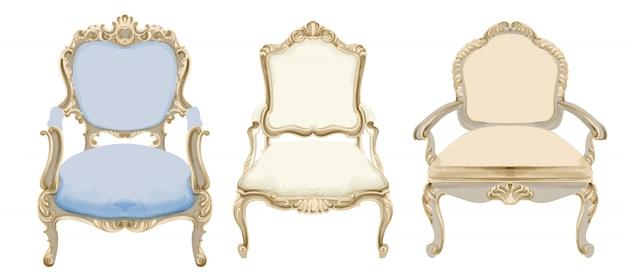Стулья в стиле барокко с элегантным декором Бесплатные векторы