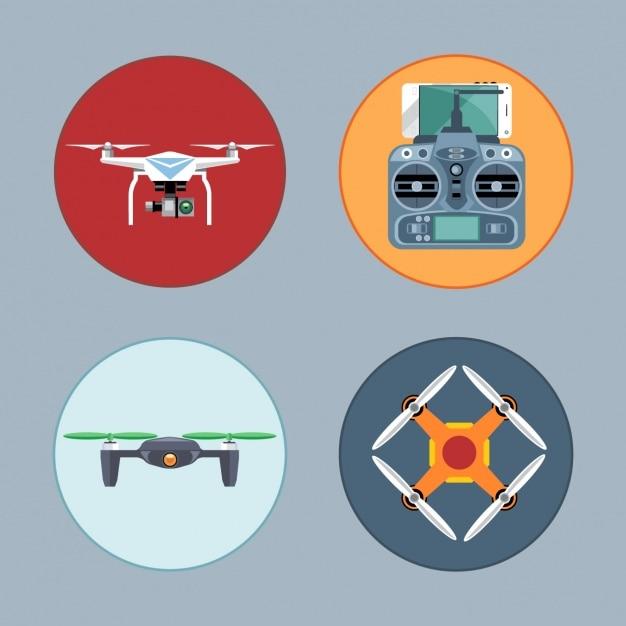 Четыре беспилотные летательные аппараты Бесплатные векторы