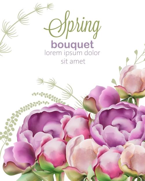 水彩風の牡丹とチューリップの花の春の花束 無料ベクター