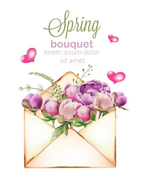 封筒に水彩風の牡丹とチューリップの花の春の花束 無料ベクター