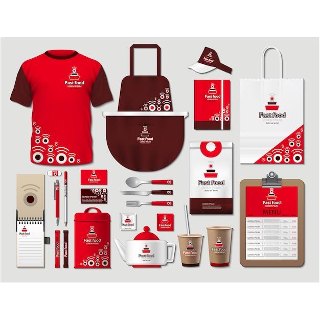 Журнальные столы для кафе с красным дизайном Бесплатные векторы