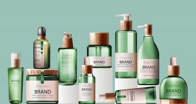 さまざまなヘルスケアとスパのグリーンボトルのセット。ボディオイル、ローション、美容液、シャワージェル、香水 Premiumベクター