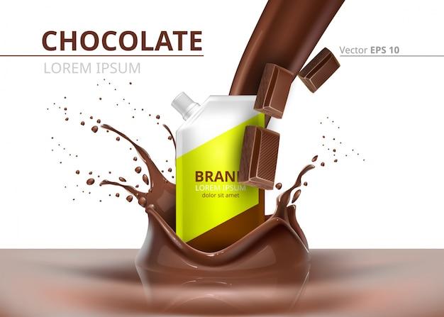 Шоколадный пакет макет вектор реалистичный на фоне брызг Premium векторы