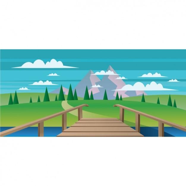 自然風景の背景 無料ベクター