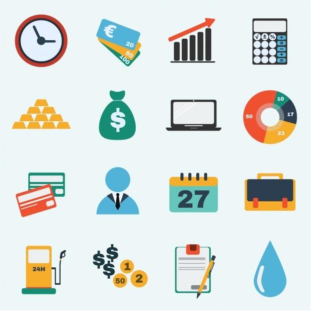 Коллекция бизнес иконки Бесплатные векторы