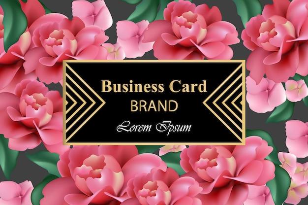 Роскошная марка с реалистичными цветами. реалистичные розовые цветы. абстрактная композиция Premium векторы