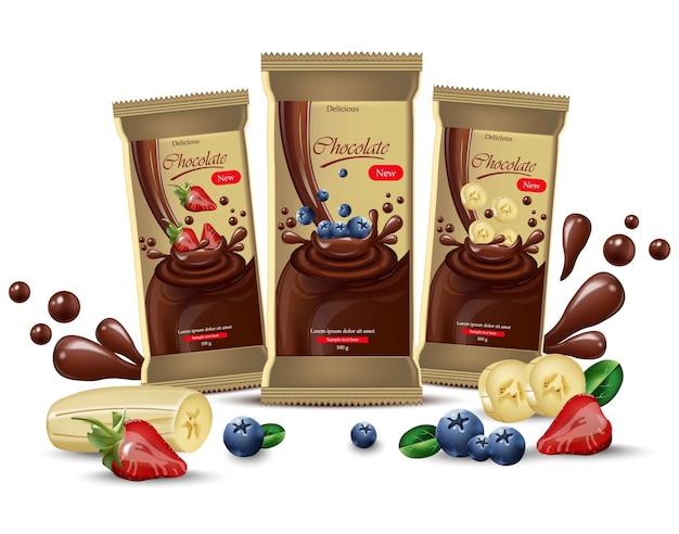 Векторный реалистичный шоколад макет. дизайн этикетки продукта. черника, клубника Premium векторы
