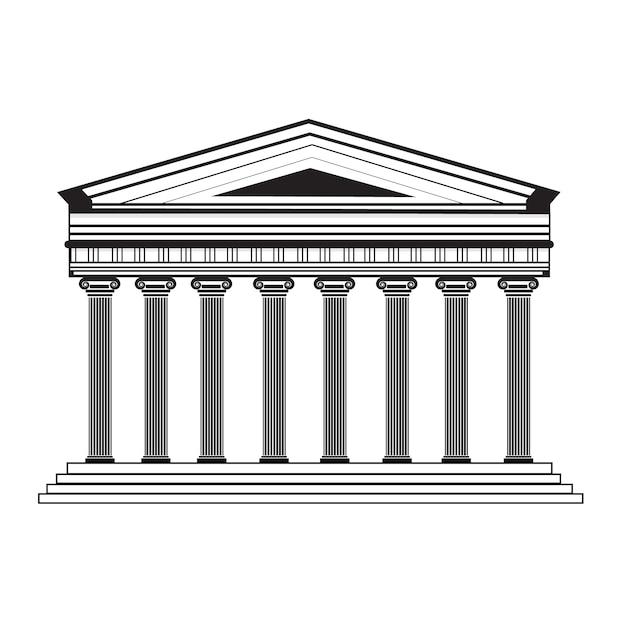 パルテノン神殿のファサードのデザイン 無料ベクター