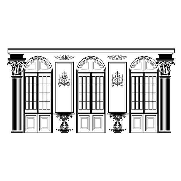 レトロな建物の設計 無料ベクター