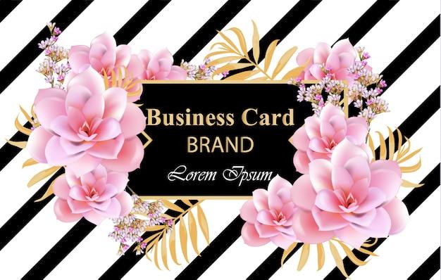 繊細な花と抽象的なデザインカードベクトル。名刺、ブランドブック、ポスターの背景 Premiumベクター