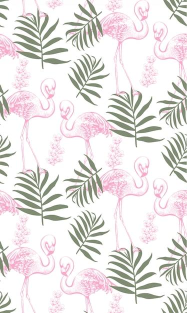 Фламинго и пальмовые листья бесшовные модели Premium векторы