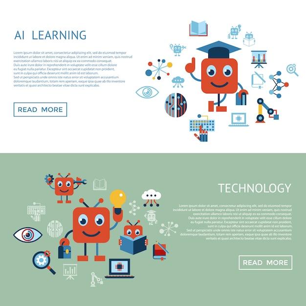 人工知能自己学習アイコンコレクション Premiumベクター