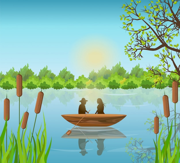 ロマンチックなカップル、湖、イラスト Premiumベクター