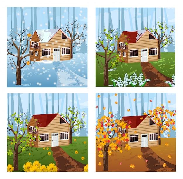 木の家の季節の背景 Premiumベクター