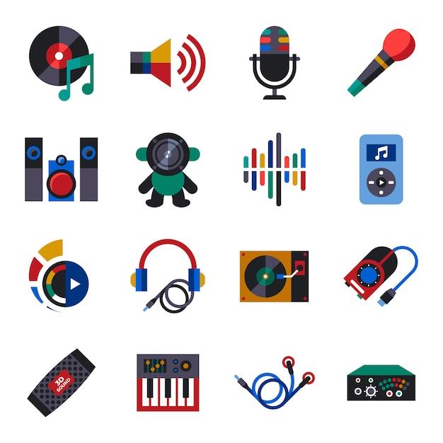 サウンドと音楽デザインのアイコンコレクション Premiumベクター