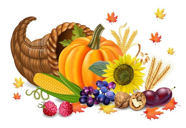 カボチャとひまわりの秋の収穫 Premiumベクター