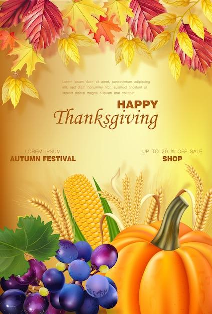 Счастливое меню благодарения с тыквой и фруктами Premium векторы