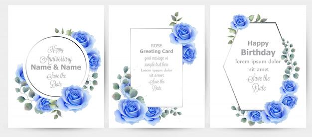 水彩、青、バラ、花、カード、コレクション Premiumベクター