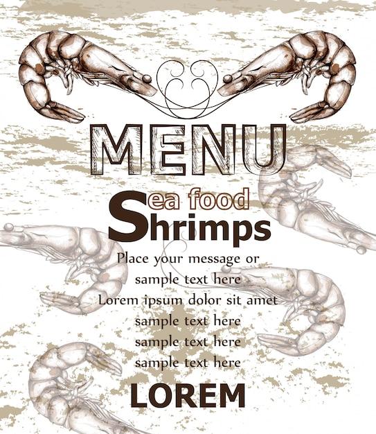 エビ海食メニューテンプレート Premiumベクター