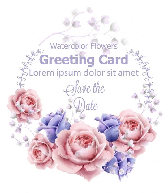 バラの花の花輪のフレームカードの水彩 Premiumベクター