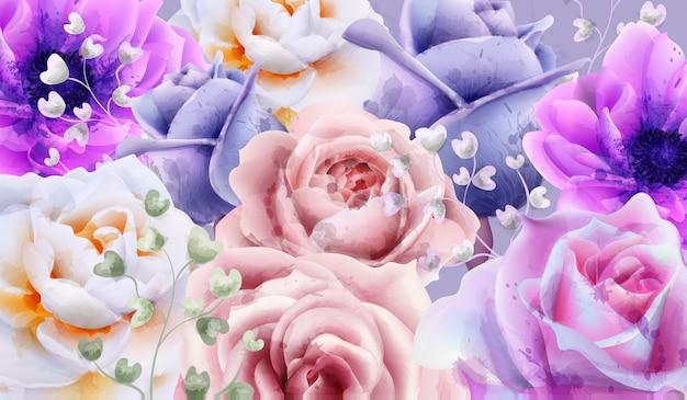 バラの花の背景の水彩 Premiumベクター
