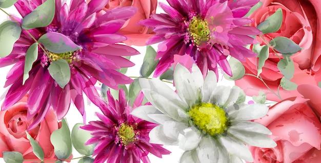 春のデイジーの花の背景の水彩 Premiumベクター