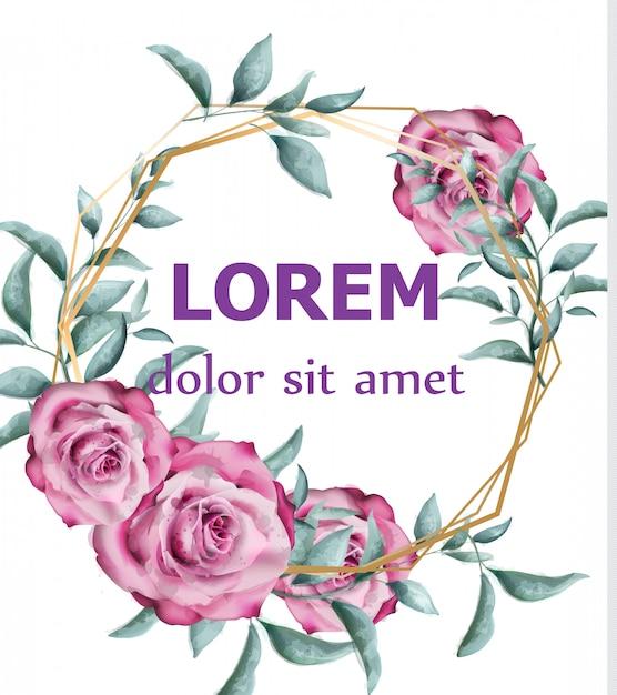 緑の枝と花の水彩の円形のフレームをバラ Premiumベクター