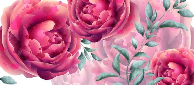 結婚式の招待は花の水彩をバラ Premiumベクター