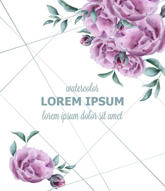 結婚式招待バラ花の水彩フレーム Premiumベクター
