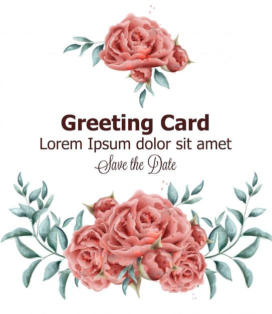 バラの花の水彩でグリーティングカード Premiumベクター