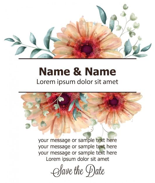 ガーベラの花のバナー水彩 Premiumベクター