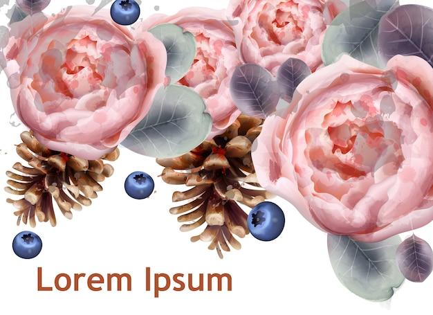 牡丹の花とモミの水彩 Premiumベクター