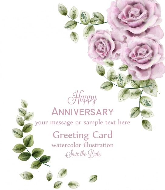 繊細なピンクのバラの記念日カード Premiumベクター