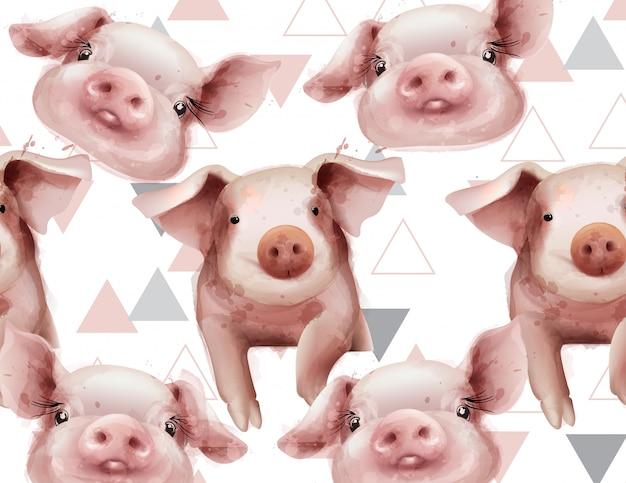 Акварельный рисунок года свиньи Premium векторы