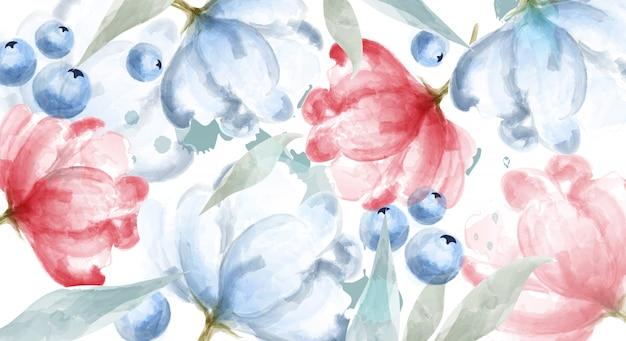 ブルーベリーとピンクの花の水彩画バナーフレーム Premiumベクター