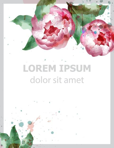 Акварельная открытка с цветами пиона Premium векторы