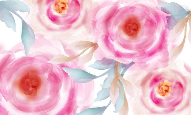 金色のキラキラと水彩のピンクのバラ Premiumベクター