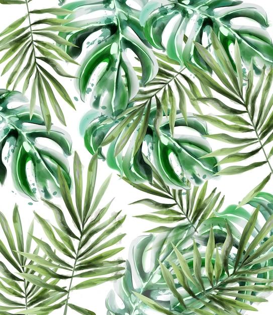 ヤシの葉模様の水彩画 Premiumベクター