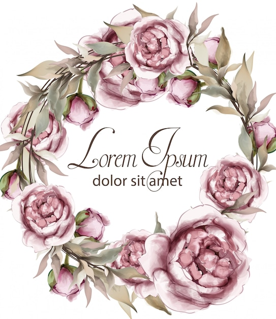繊細な花輪フレームの水彩画のバラ Premiumベクター