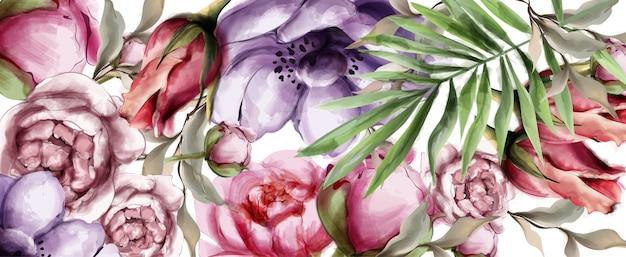 Цветочный акварельный фон Premium векторы