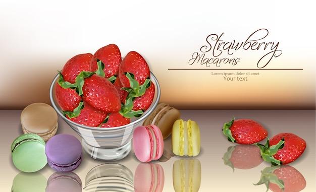 イチゴとマカロン Premiumベクター