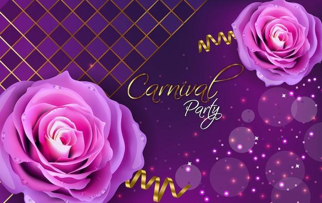 紫のバラ Premiumベクター