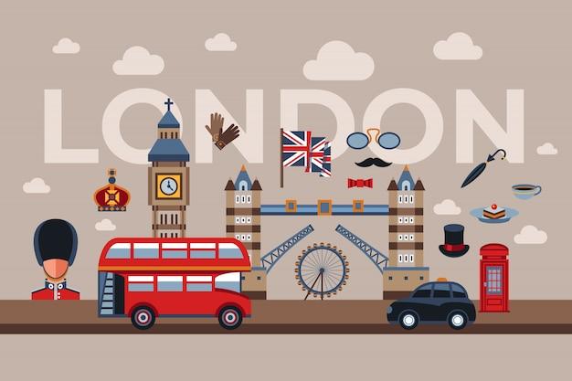 ロンドンのアイコン Premiumベクター