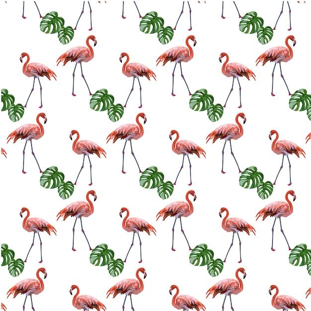 Фламинго и фон с узорами Бесплатные векторы