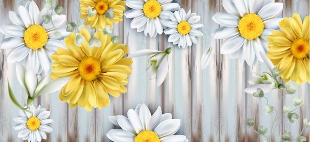 デイジーとチューリップの花ブーケ水彩画 Premiumベクター