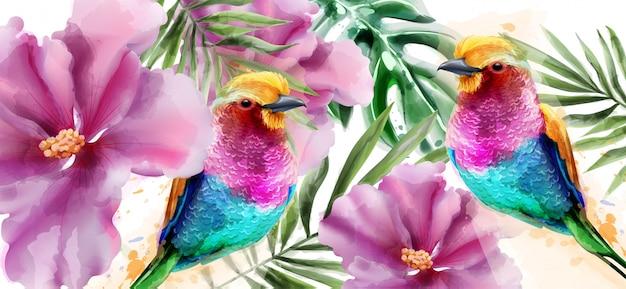 Разноцветные птицы и цветы акварели Premium векторы