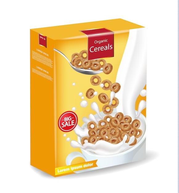 ミルクモックアップとコーンフレークシリアル Premiumベクター